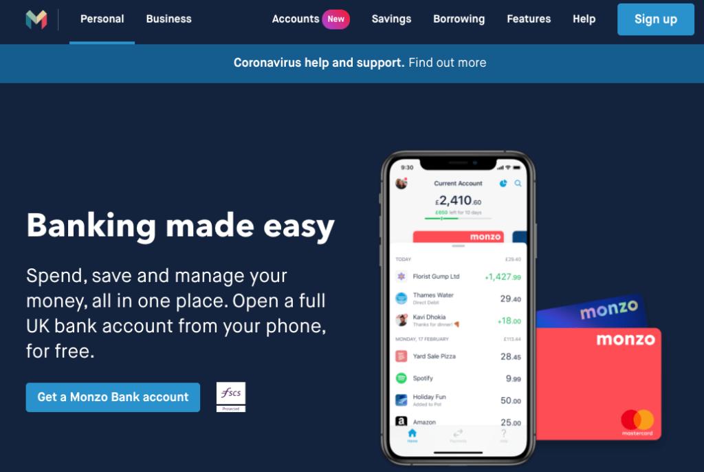 Monzo banking app
